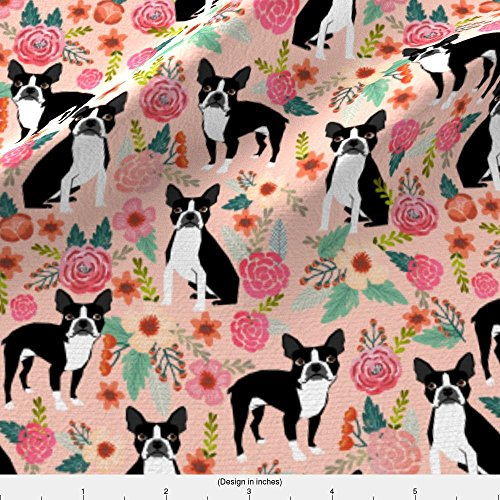 Boston Terriers Fabric - Boston Terrier Dog Pet Puppy Pets Sweet Dogs Vintage Florals Pink Girly Girls Fabric for Home Textiles by petfriendly - Printed on Basic Cotton Ultra Fabric by the Yard - Boston Terrier Fabric