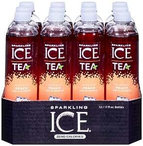 Sparkling Ice Tea Peach Tea 17 Ounce Bottles (Pack of 12)