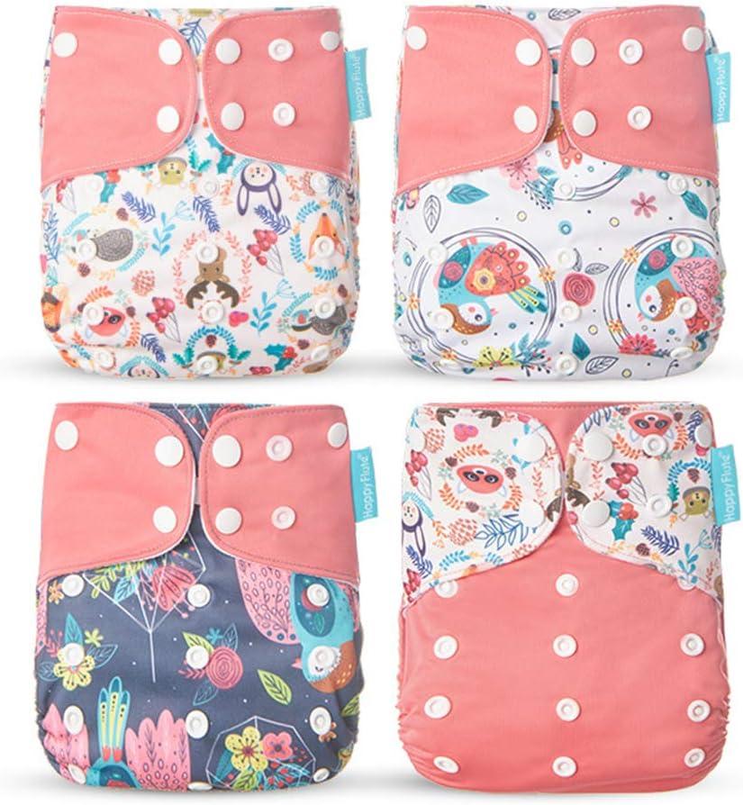 LGYKMU Baby-Tuch-Windel-Training Pants Bambuskohle Fiber Tasche Nappy Einstellbare Pocket-Windel F/ür Babys Geeignet 4PCS,Braun