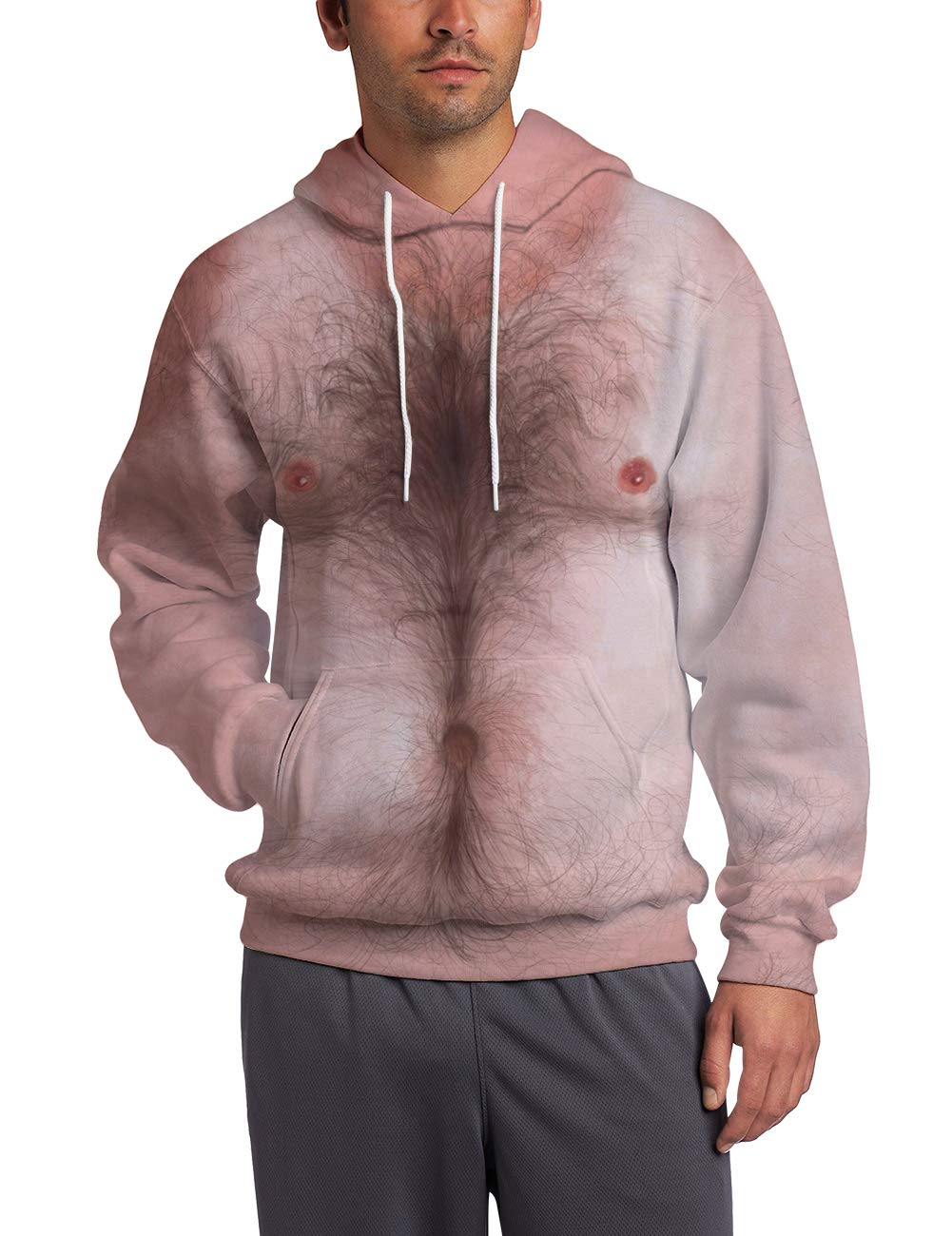 Leapparel Unisex Pullover Colorful 3D Hoodie Galaxy Sweatshirt for Men and Women Cool Graphic Prints Sweater with Big Pocket (Large/X-Large, Chest Hair-Pink)