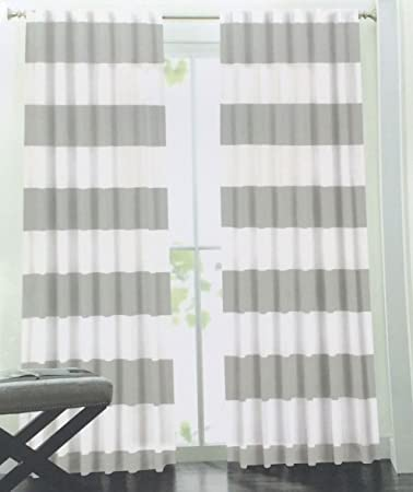 Amazon.com: Hillcrest Wide Stripes Curtains 2 Panels 52 by 96 inch ...