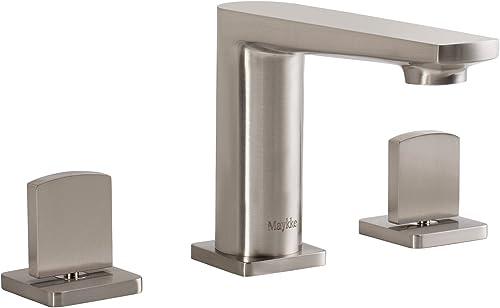 MAYKKE Adalbert 8 Widespread Sink Faucet Modern Three Piece Bathroom Lavatory Vanity Sink Basin Faucet with Two Handles Brushed Nickel, cUPC certified, SDA1090502