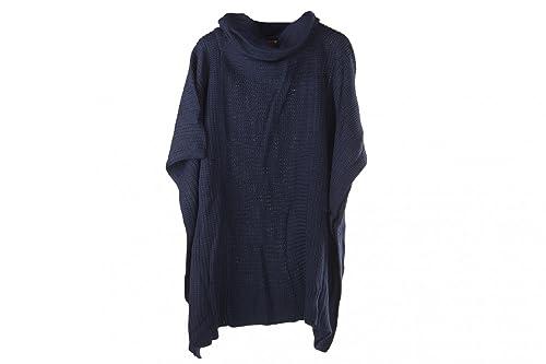 Poncho donna ROMEO GIGLI blu mantella coprispalle collo alto 100% acrilico