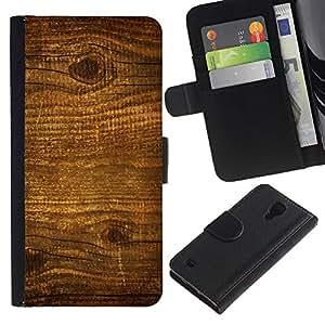 KLONGSHOP / Tirón de la caja Cartera de cuero con ranuras para tarjetas - Wood Nature Pattern Texture Brown Wall - Samsung Galaxy S4 IV I9500