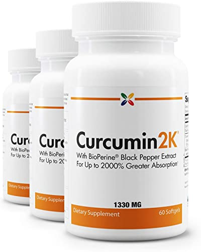 Stop Aging Now - Curcumin2K Formula with BioPerine Black Pepper Extract for Up to 2000 Greater Absorption - 60 Veggie Caps 3 Bottle Multi-Pack