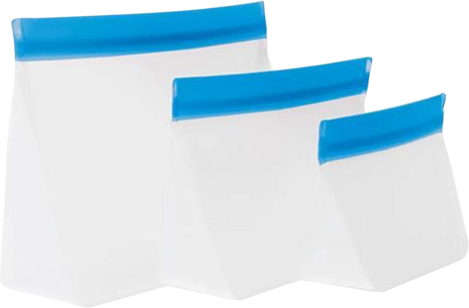 mumi Reusable Zip Up Bags | Food Storage Bags, Travel Organizer | Airtight and Leak-proof Seal | Expandable Base | Set of 3 Reusable Bags (10 x 7, 8 x 5, 6 x 4 inches) (Blue)