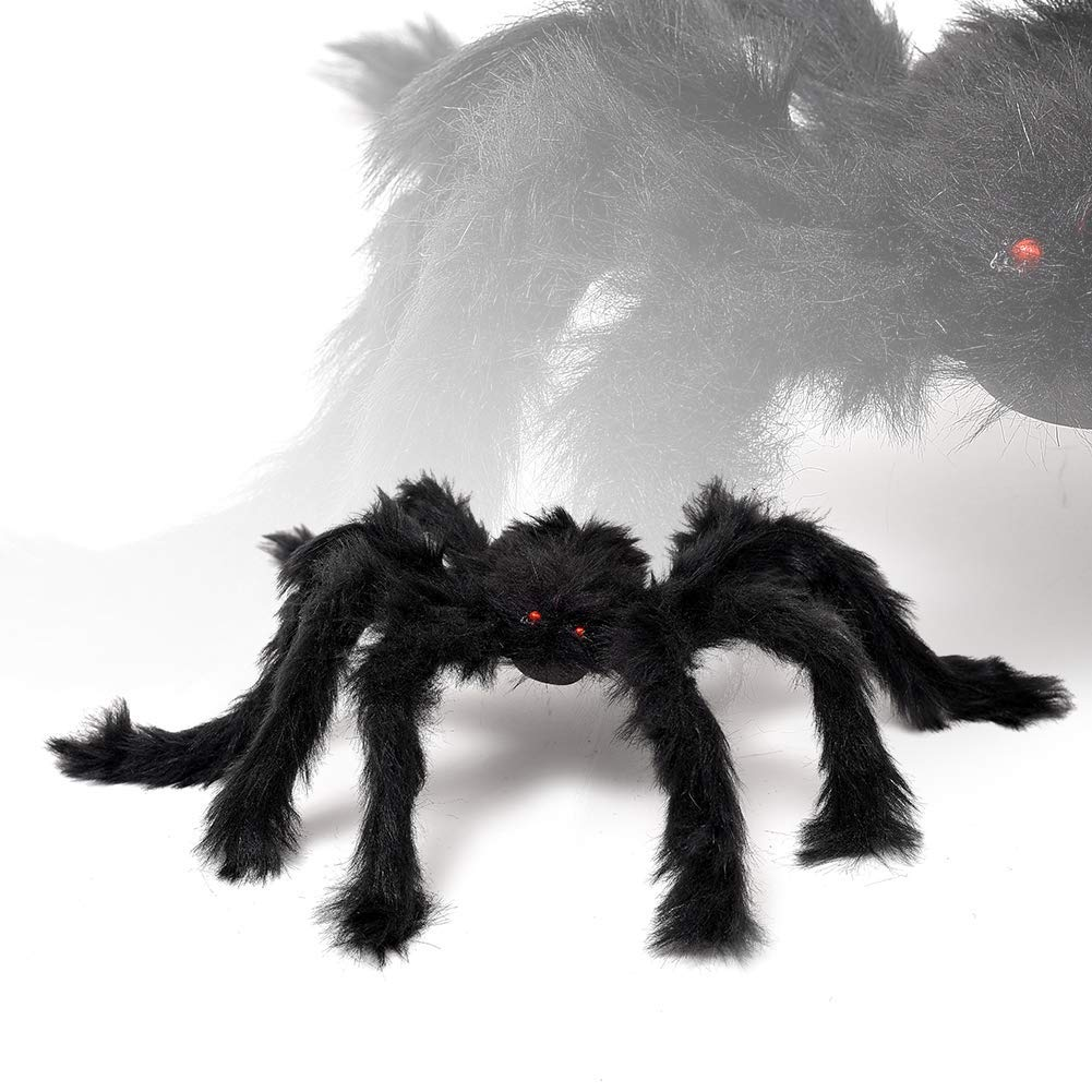 Large Fake Spider Realistic Hairy Spiders Halloween Indoor and Outdoor Yard Decoration Creepy Black Spiders Comes With 24pcs Small Size Halloween Bat Kit for Gift 3 Pack Halloween Giant Spider Set