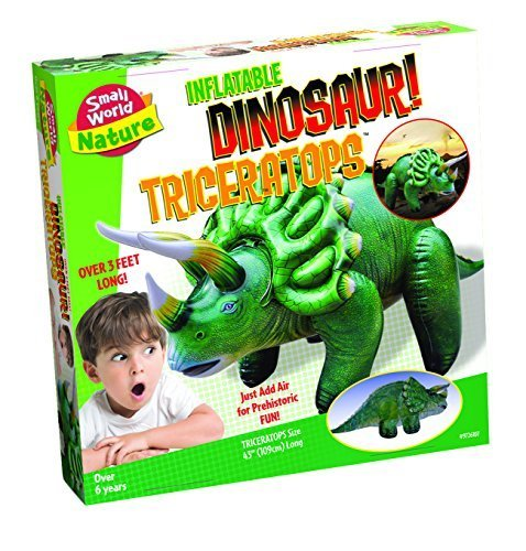 Small World Toys Nature - Inflatable Dinosaur! Triceratops Kit, (46 Inflatable)