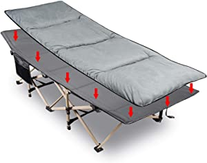 REDCAMP Folding Camping Cots for Adults with Mattress Pad, Soft and Comfortable for Outdoor Indoor Office Sleeping, Portable Heavy Duty Cots 500 Pounds, Blue Grey 75x28 inches