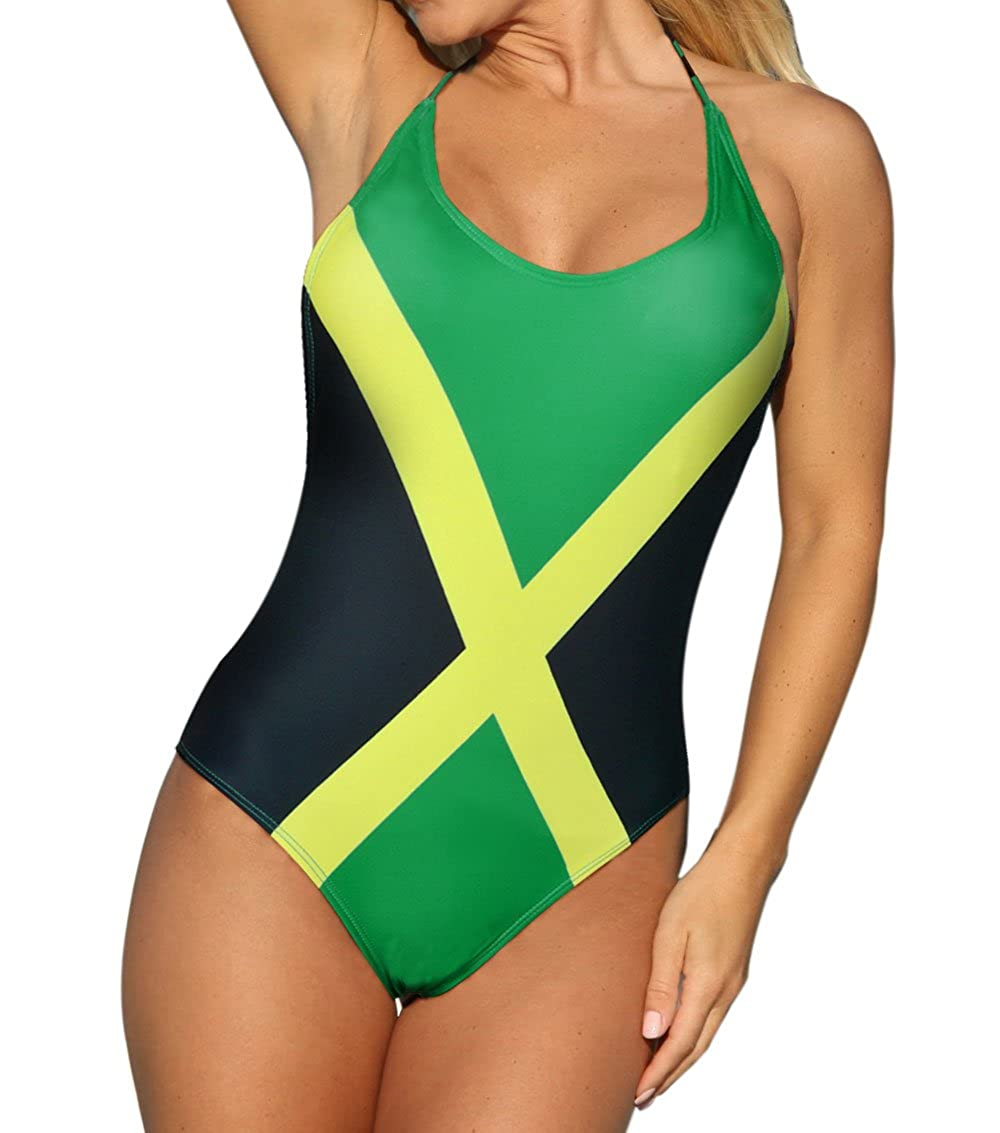 e04a5458601 VOARYISA Women's Fashion One Piece Caribbean Jamaica Flag Rasta Sport Monokini  Swimsuit Swimwear at Amazon Women's Clothing store:
