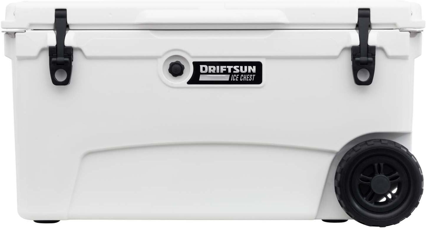 Driftsun Cofre de hielo con ruedas de 70 cuartos de galón, resistente y de alto rendimiento Roto-moldeado grado comercial aislado refrigerador