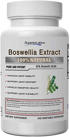 Superior Labs Boswellia Extract - Pure NonGMO Boswellic 65% Acids w/Bioperine Superior Absorption Zero Synthetic Additives - Powerful Formula Joint, Knees, Hips, Migraine, Immune, - 500mg Svg, 240 Veg