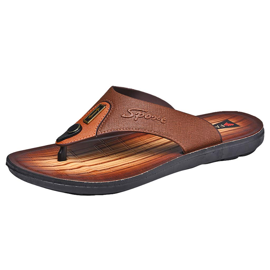 Men's Lightweight Flip Flops - Gentleman Fashion Leisure Wear Light Non-Slip Beach Slippers Slide Sandals