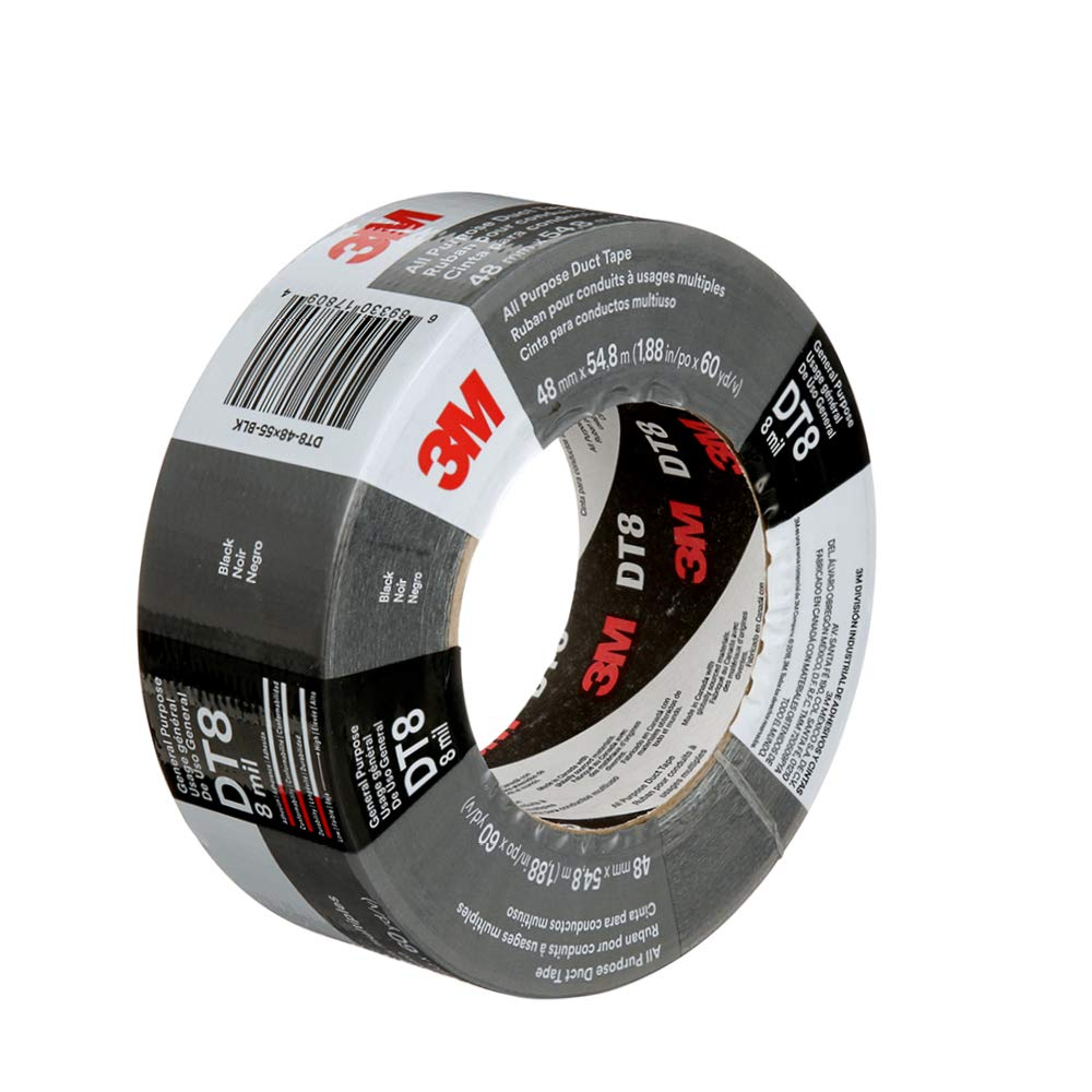 3M DT8 Industrial Strength Multi-Use Duct Tape, Black, 1.88in x 60 yd x 8 mil Thickness – Professional Grade Adhesive, 1 Pack