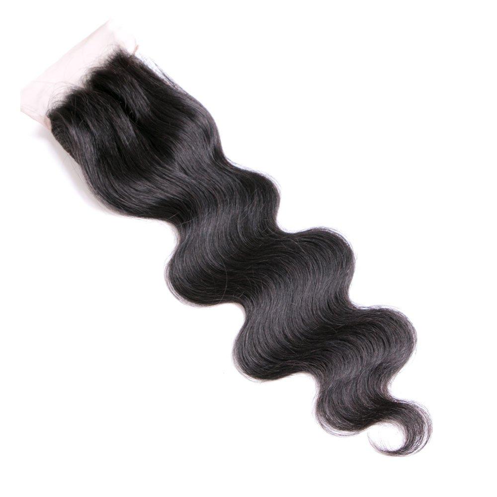 Lanyi Hair Virgin Brazilian Hair Body Wave 130% Density Free Part Lace Closure 14''