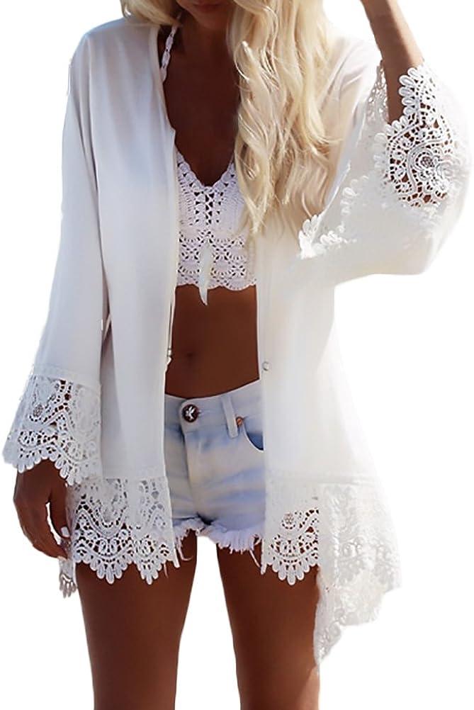 Donna Kimono Cardigan Estivo Manica Lunga Stampa in Pizzo Bikini Cover up Elegante Moda Giovane Hippie Casuale Sciolto Traspirante Sottile Copricostume Mare