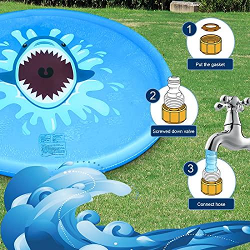 MECHICOO Sprinkler Splash Play Mat for Kids Toddlers, 68'' Summer Outside Wading Pool,Shark Inflatable Water Toys for 2 3 4 5 6 7 8 Years Old Children Boys Girls