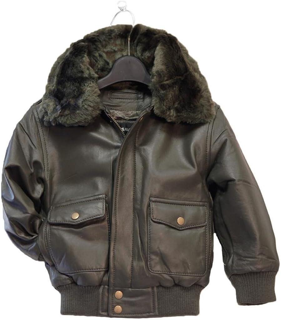 Childrens Genuine Lambskin Leather Bomber Pilot Jacket Toddler /& Boys Kids