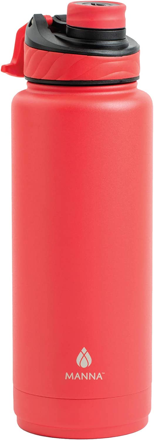 Manna Convoy 40oz Water Bottle Double Wall Vacuum Insulated Stainless Steel Tumbler With Lid, Simple Mouth Spout, Cold And Hot Beverage, Reusable Metal Jug Flask For Gym And Travel (Lychee, 40 oz)