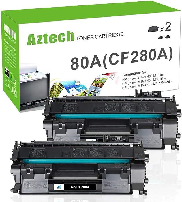 Aztech Compatible Toner Cartridge Replacement for HP 80A Laserjet 80A CF280A 80X CF280X Laserjet Pro 400 M401A M401D M401N M401DNE MFP M425DN (Black, 2-Pack)