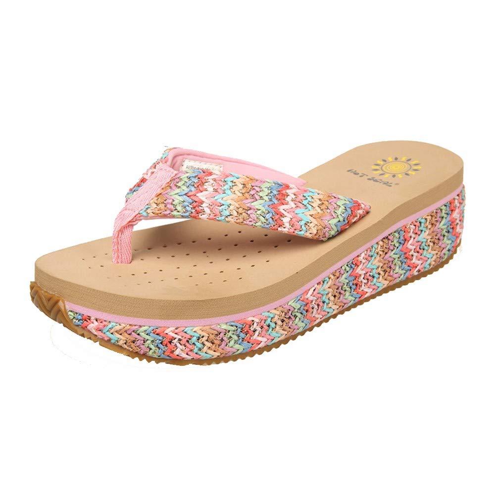 GUHI Sommer - Damen - Strandschuhe, Flip - Flops, Rutschfeste Strandschuhe, - Muffin mit Sandalen und Slipper Beige 7531d3