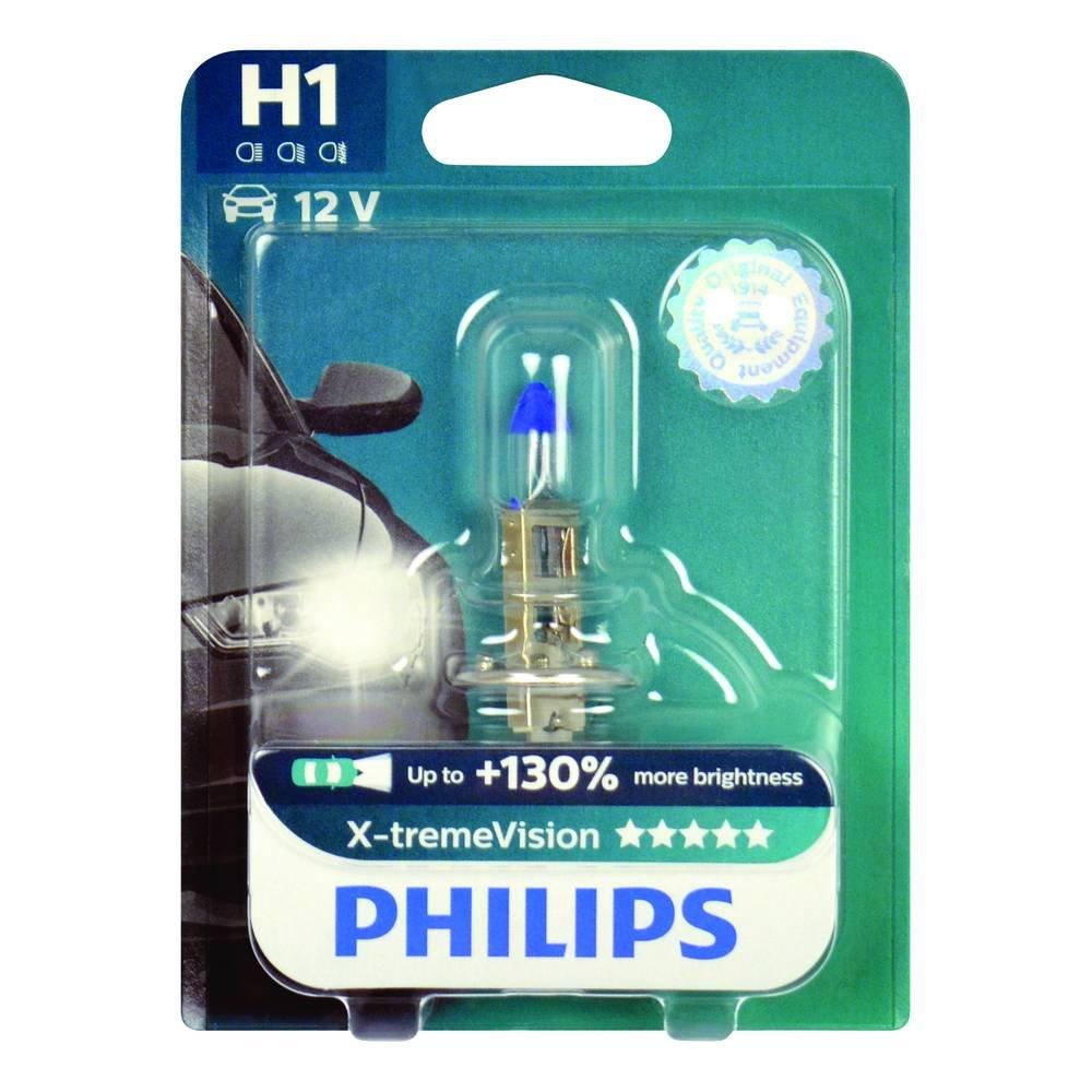 Philips 12258XVB1 X-treme Vision - Bombilla H1 para faros delanteros (1 unidad, 12 V, 55 W, P14,5s, 130% más potencia): Amazon.es: Coche y moto