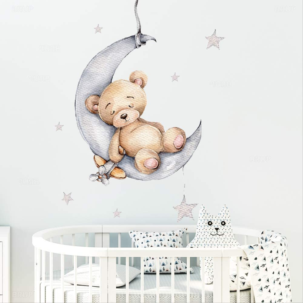 GIAO Cartoon Teddy Bear Sleeping on The Moon and Stars Wall Stickers for Kids Room Baby Room Decoration Wall Decals Room Interior