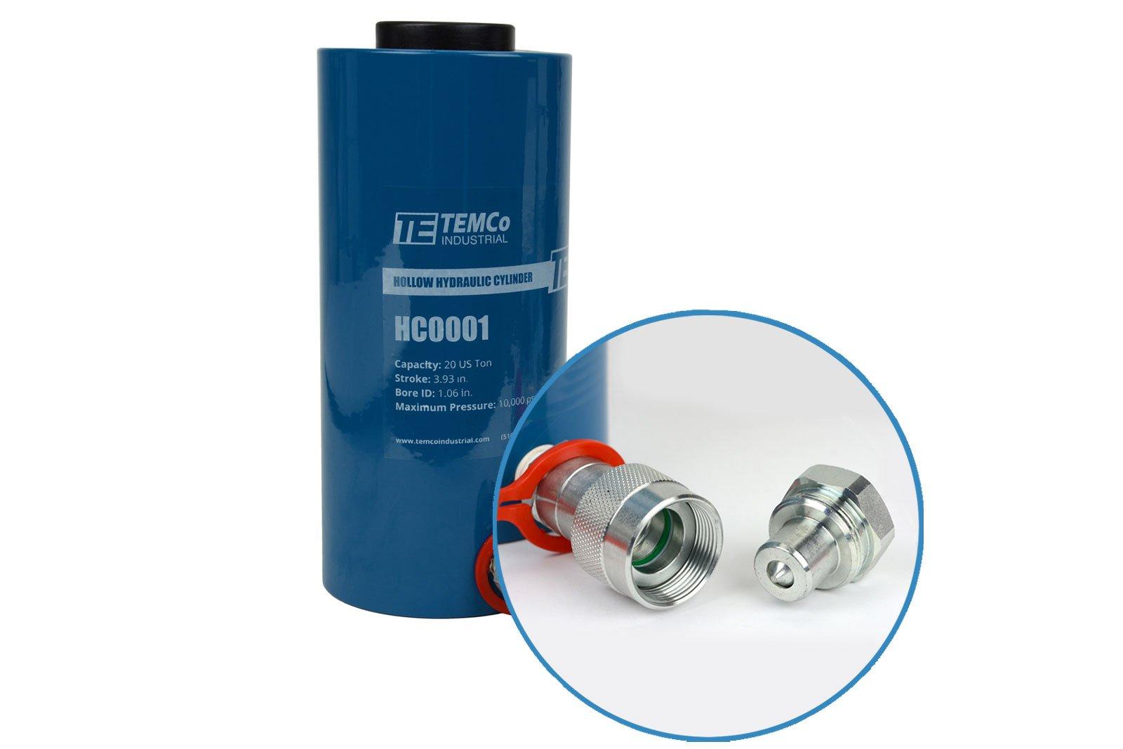 TEMCo HC0001 - Hollow Hydraulic Cylinder Ram 20 TON 4 In Stroke - 5 YEAR Warranty