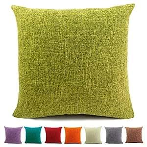 Amazon.com: Easondea Fundas de Cojín lisas de lino y algodón ...