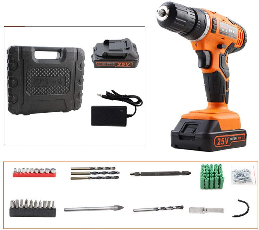 Large-capacity Battery Speed Adjustment Multi-level Torque KUANDARYJ LED Lighting Cordless Drill Driver Torque Combi Drill Set Electric Drill Screwdriver