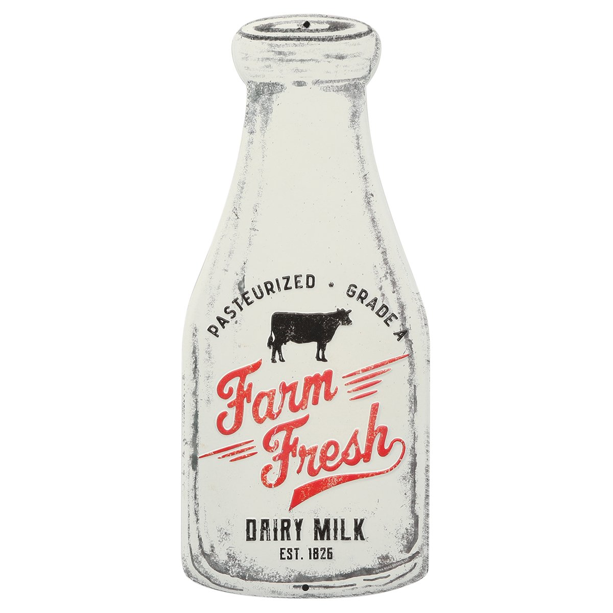 Open Road Brands Farm Fresh Milk Bottle Embossed Metal Sign