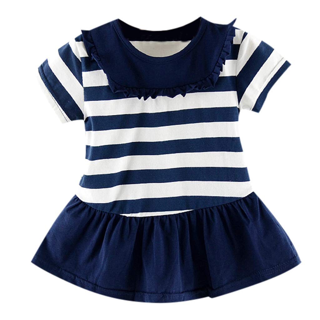 Baby Summer Dresses 12-18 Months,Toddler Kid Baby Girl Striped Printed Party Casual Princess Dress Clothing,Girls' Costumes, Navy