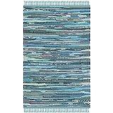 Safavieh Rag Rug Collection RAR121B Hand Woven Blue and Multi Cotton Area Rug (2' x 3')