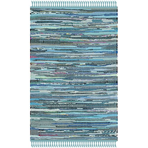 (Safavieh Rag Rug Collection RAR121B Hand Woven Blue and Multi Cotton Area Rug (2' x 3'))