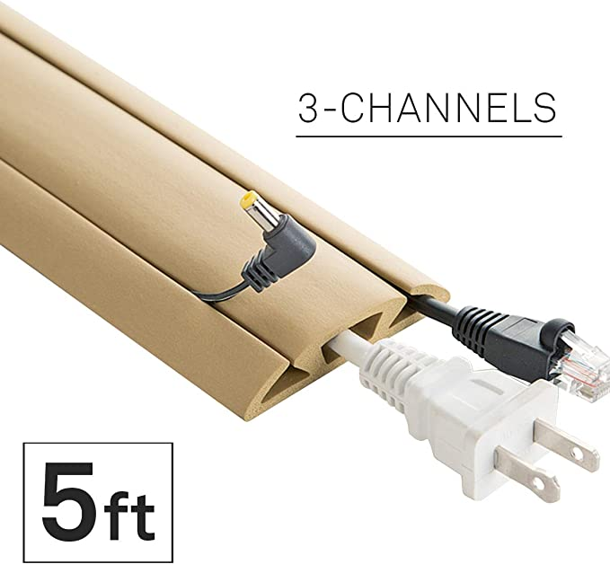 mumbi Cable Guide for Desk//Set of 6 Computer Cable Management White