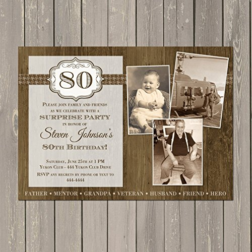 Adult Masculine Birthday Invitation, Woodgrain Birthday Invite, Photo Collage Adult Birthday Invitation, Any Age, Custom