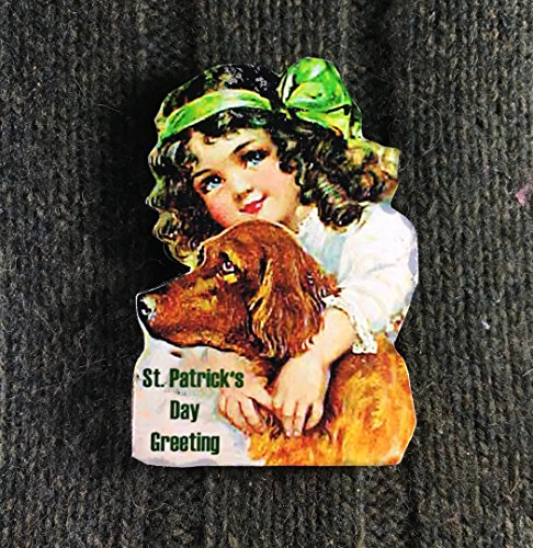 St Patrick's Day Pin Brooch Handcrafted Wood, Irish Girl with Setter, Dog Magnet, Jewelry Brooch, Scarf Pin, Ornament, Daughter Gift Jewelry