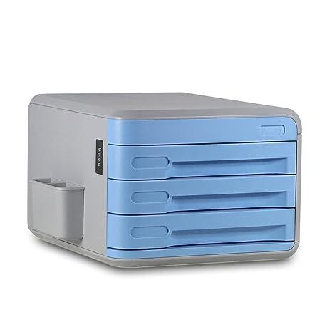 Archivadores ABS Plástico Contraseña A4 Oficina Multifunción Caja de Almacenamiento (Color : Azul)