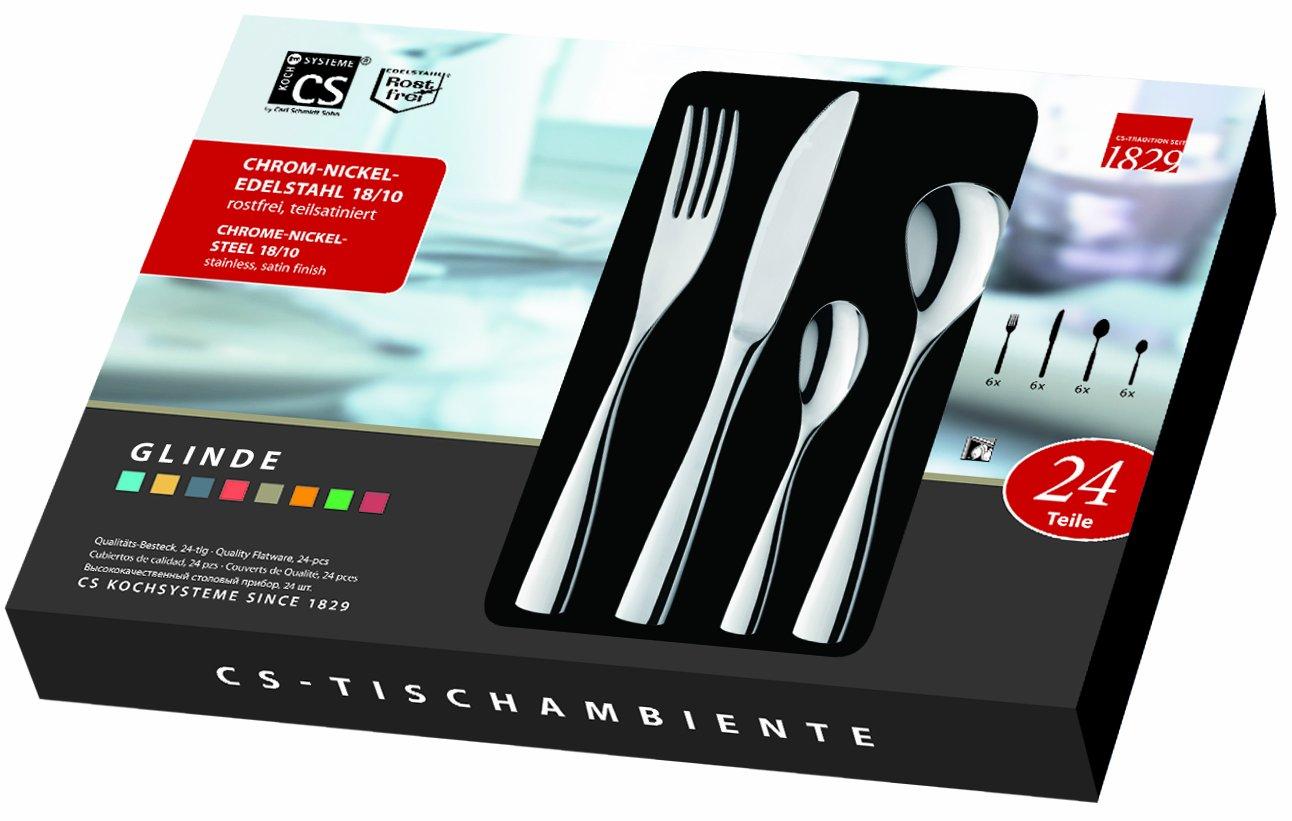C&S CS Kochsysteme 35532 Glinde - Cubertería (acero inoxidable, brillo intenso, 24 piezas, en estuche de regalo,: Amazon.es: Hogar