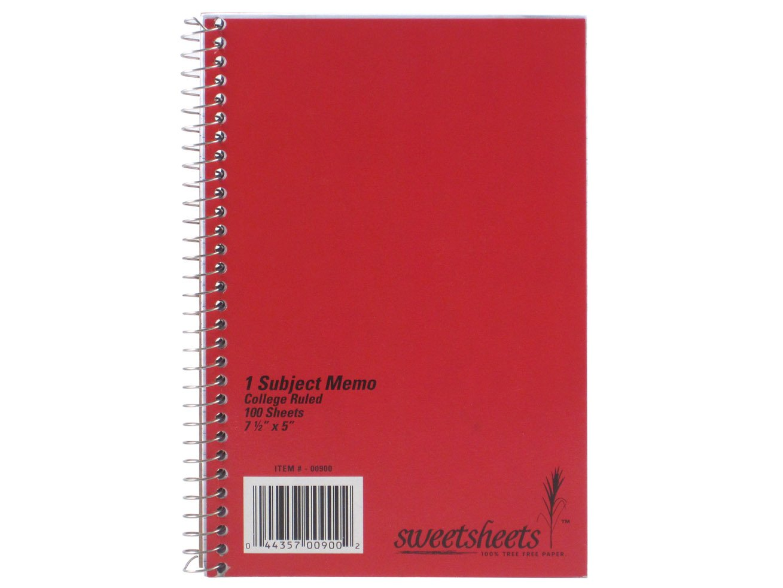 Saunders SweetSheets Sugarcane Bagasse Spiral Bound Notebook, 7.5 X 5-Inch, 100 Sheets, 900 00900