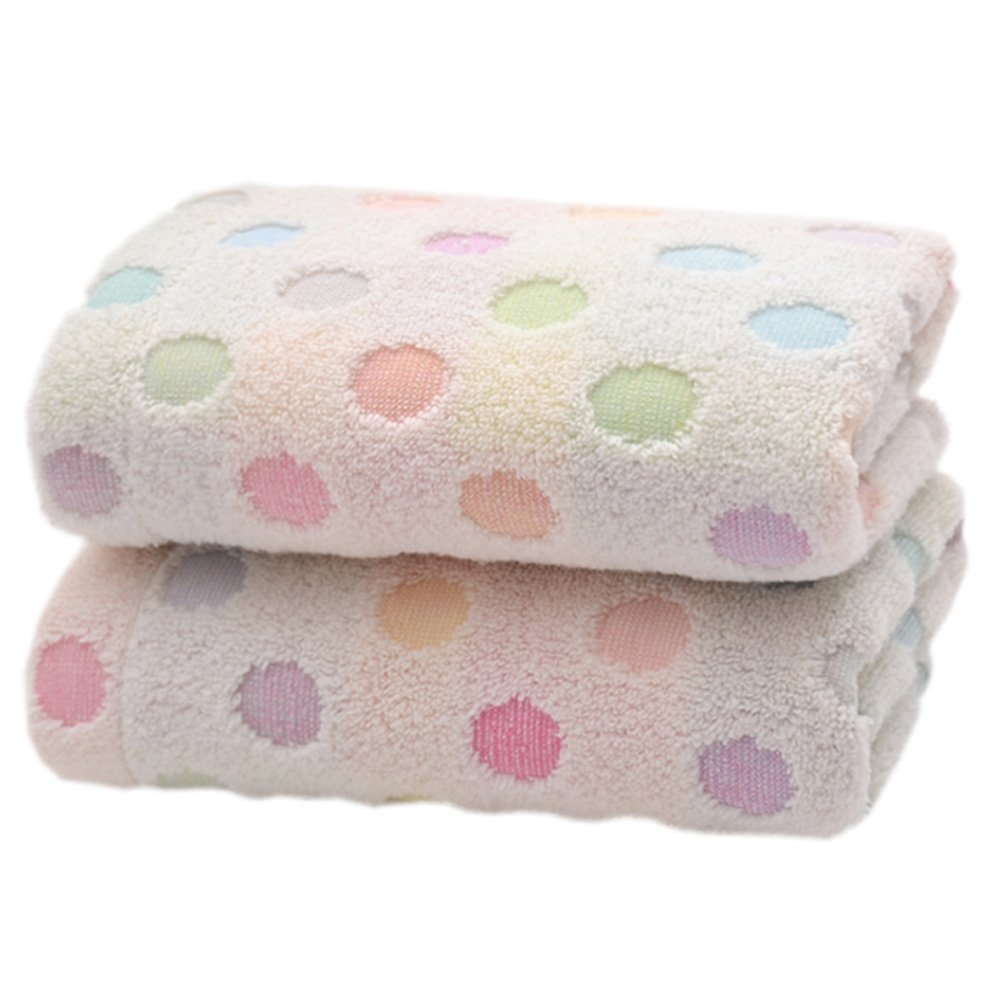 Pidada 100% Cotton Hand Towels Polka Dot Pattern Super Soft Highly Absorbent Luxury Towel for Bathroom 14 x 30 Inch Set of 2 (Beige)