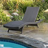 Salem Outdoor Grey Wicker Chaise Lounge Chair by Christopher Knight Home