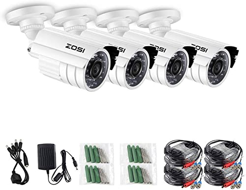 ZOSI 4 Pack 1080P 1920TVL 2.0 Megapixel HD 4 in 1 TVI CVI AHD CVBS CCTV Cameras Kits 65ft IR Distance Aluminum Metal Housing Waterproof Indoor Outdoor Cameras for 1080P Analog DVR System White