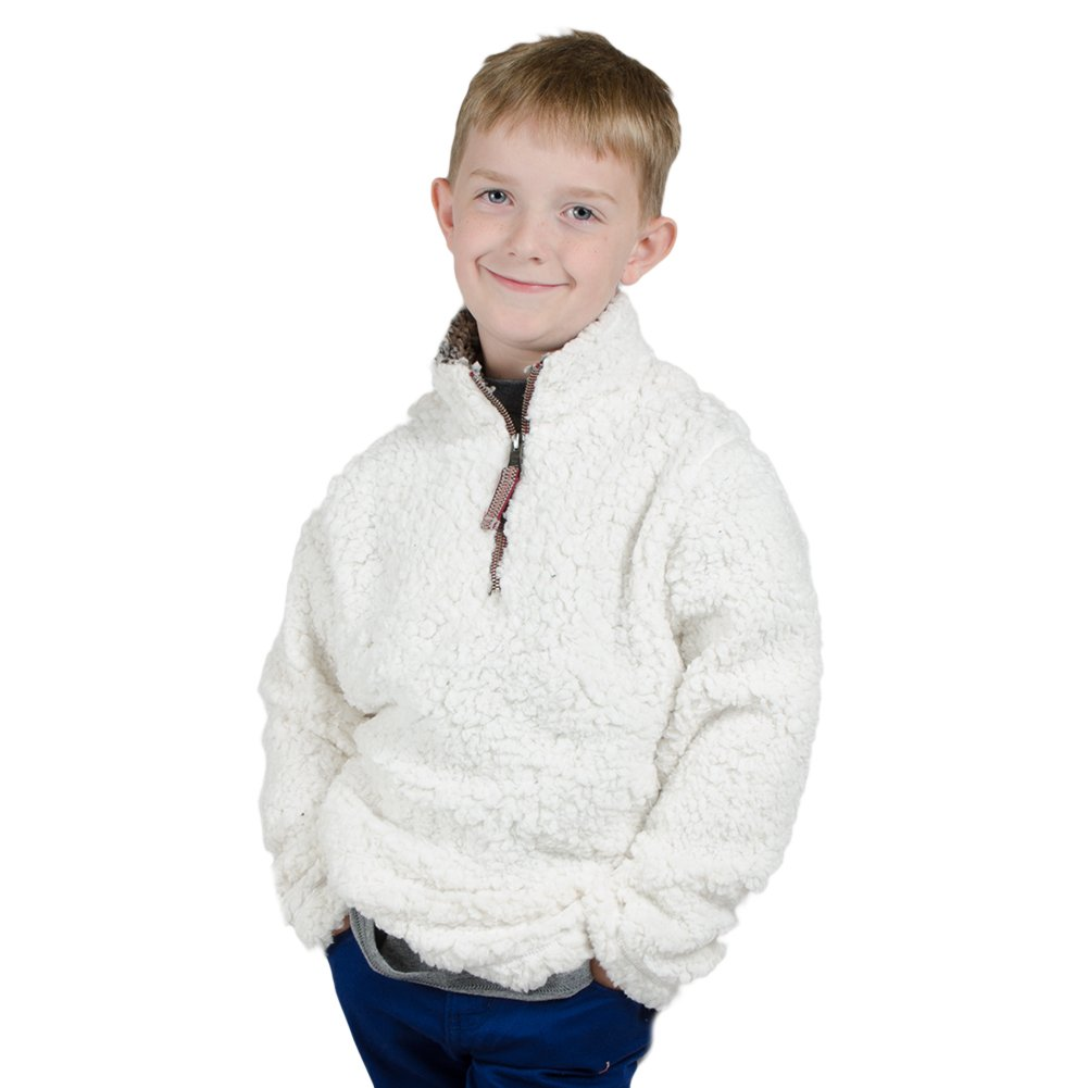 True Grit Kid's 1/4 Zip Frosty Tipped Pile Ivory Pullover L by True Grit