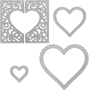 Metal Heart Shaped Greeting Card Cutting Dies, Love Heart Die Cuts Embossing Stencils Template Mould for Card Scrapbooking and DIY Craft Album Paper Card Decor