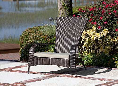 Premium Quality Wick Adirondack Wicker Chair With Cushion Furniture - For All Weather on Patio Outdoor Garden Poolside Beach, Dark Mocha Color, Lightweight 22 pounds (Breezesta Adirondack)