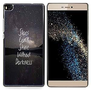 - stars night text darkness inspiring quote - - Modelo de la piel protectora de la cubierta del caso FOR HUAWEI P8 RetroCandy