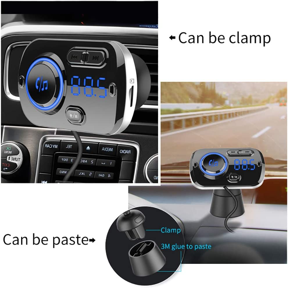Hands-Free Calling Compatible for All Smartphones and AUX Output Wireless Audio Radio Adapter Music Stereo/Player Car Bluetooth FM Transmitter with USB Charger