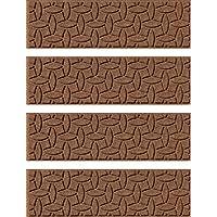 Bungalow Flooring Waterhog Stair Treads, Set of 4, 8-1/2 x 30, Skid Resistant, Easy to Clean, Catches Water and Debris, Ellipse Collection, Dark Brown