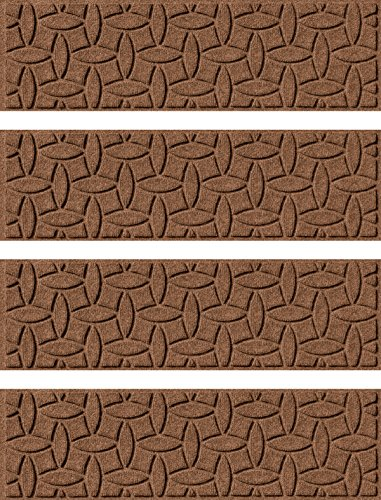 Recycled Stair Tread (Bungalow Flooring Waterhog, Set of 4 Stair Treads, Ellipse Collection, Skid Resistant, Catches Water and Debris, Easy to Clean, 8-1/2-Inches by 30-Inches, Ridged Abstract Design, Dark Brown)